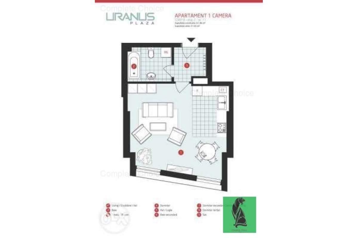 Apartament 1 camera, Uranus Plaza,Soarelui