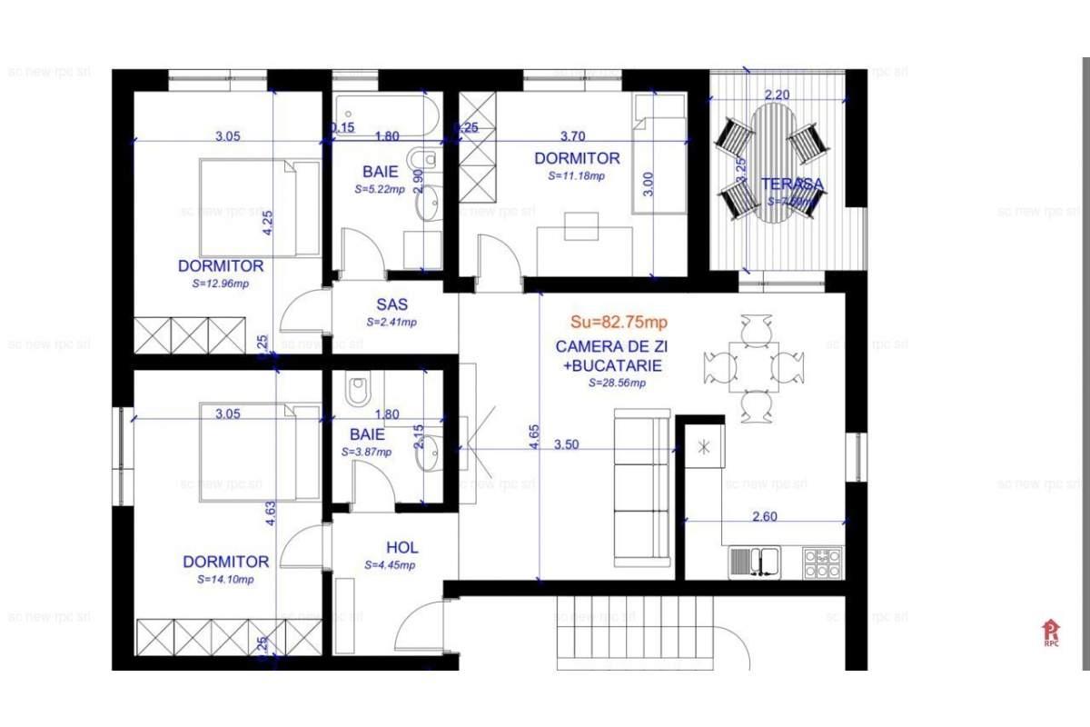 de inchiriat apartament cu 3 dormitoare