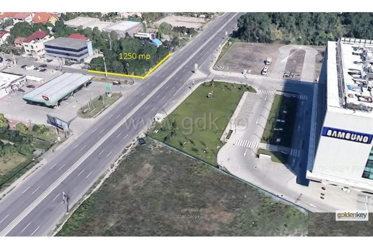 Teren 1250 mp pe colt, cu front stradal 40m la DN, ideal pentru un Showroom