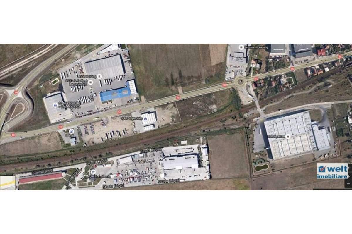 Teren industrial toate utilitatile, front la sosea 110m, zona Opel Sanicoara